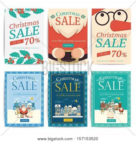 Christmas Social Media Sale Banners For Mobile Website Ad. Xmas Discount Background For Online Shop,