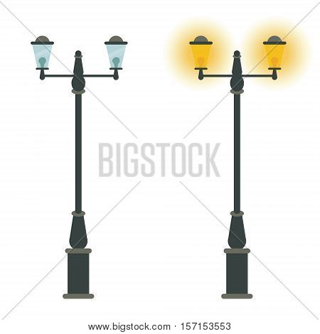 Street lamp vector icon design. Outdoor city classic vintage lantern with light on and off. Road or sidewalk streetlights. Lamppost symbol poster