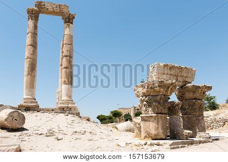 Pillars of the temple of Hercules in Amman Jordan