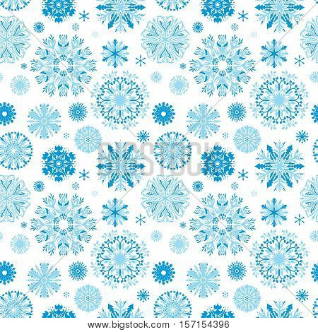 Seamless decorative texture with detailed snowflakes on white background for textile and wallpaper design