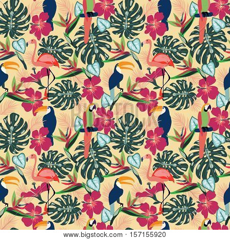 Tropical plants and flowers with toucan parrot flamingo birds exotic seamless decorative background vector illustration