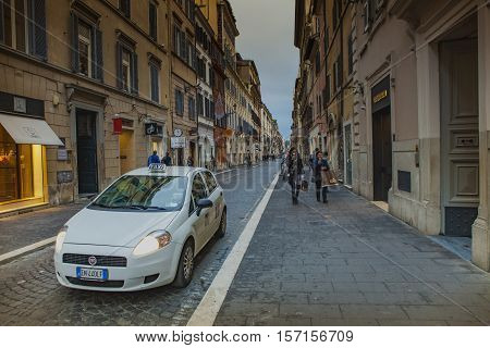 VIA DEL BABUINO ROME ITALY - NOVEMBER 8 : via del babuino street important shopping area between piazza del popolo and spanish step in heart of old town on november 8 2016 in rome italy