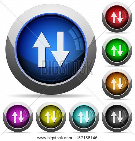 Data traffic icons in round glossy buttons with steel frames