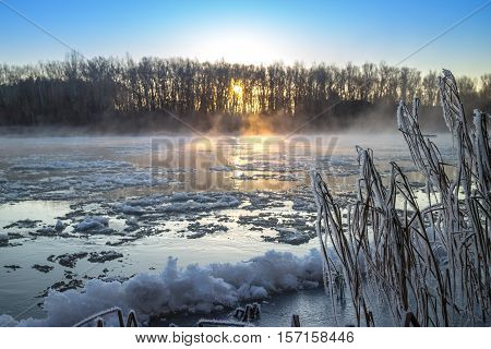 Sunrise During Freeze-up In The River