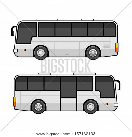 Bus Template Set on White Background. Vector illustration