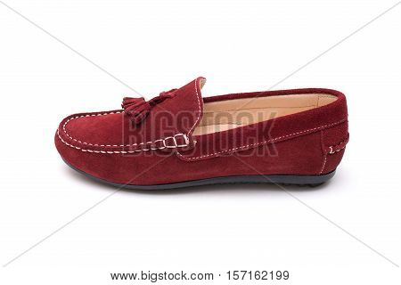 Red Suede Moccasins. Female Shoes Isolated On White Background.