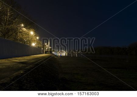 Night view the Tisza river at Szeged, Hungary