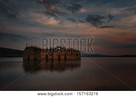 Magnificent summer sunset at Zhrebchevo Dam, Bulgaria