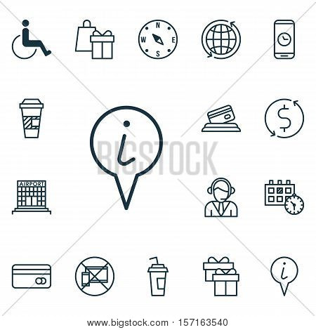 Set Of Transportation Icons On Plastic Card, Present And Appointment Topics. Editable Vector Illustr
