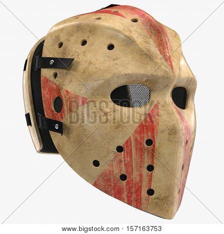 Scary hockey Halloween mask on white background. 3D illustration