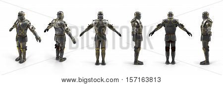 Old metal knight armour renders set from different angles on a white background. 3D illustration