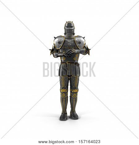 Suit of knight armour on white background. 3D illustration