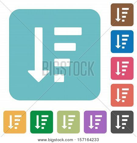 Descending ordered list mode white flat icons on color rounded square backgrounds
