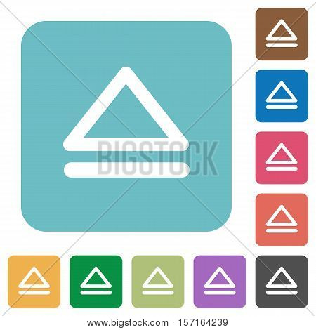 Media eject white flat icons on color rounded square backgrounds