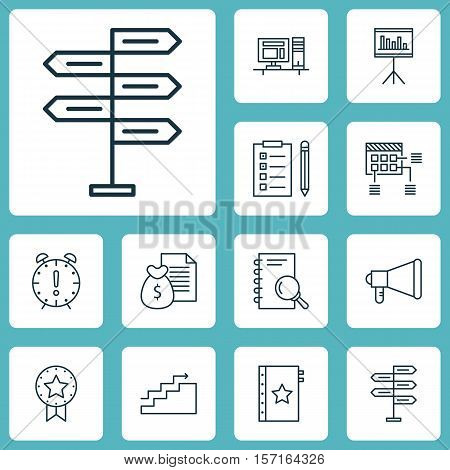 Set Of Project Management Icons On Present Badge, Growth And Schedule Topics. Editable Vector Illust