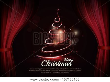 Burning christmas tree and text behind the scenes. Dark red curtain scene gracefully. Elegant vector backdrop with dark space, sparkle of lights and bokeh. Holiday classic background for new year
