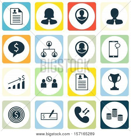 Set Of Human Resources Icons On Tournament, Money And Tree Structure Topics. Editable Vector Illustr