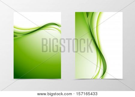 Front and back wavy flyer template design. Abstract template with green lines in light style. Vector illustration