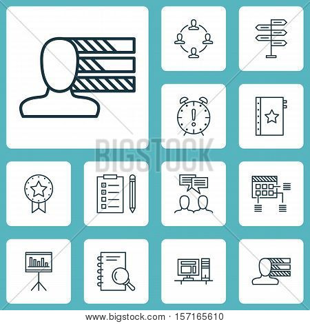 Set Of Project Management Icons On Collaboration, Warranty And Present Badge Topics. Editable Vector