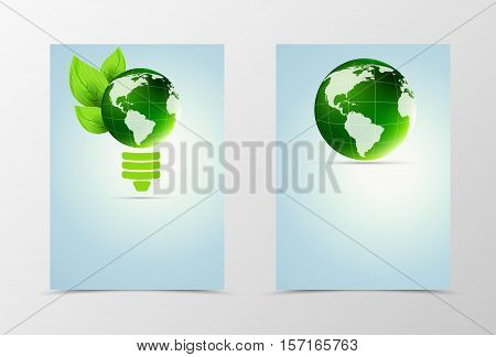 Front and back conceptual flyer template design. Abstract template in green colors with leaves and globe as form of bulb in light style. Vector illustration