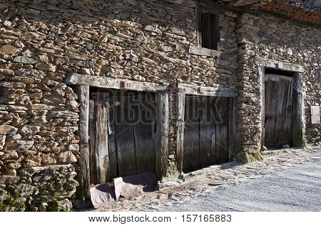 Traditional stone houses at Guadarrama Mountains, Madrid Spain