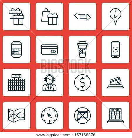 Set Of Travel Icons On Takeaway Coffee, Shopping And Calculation Topics. Editable Vector Illustratio