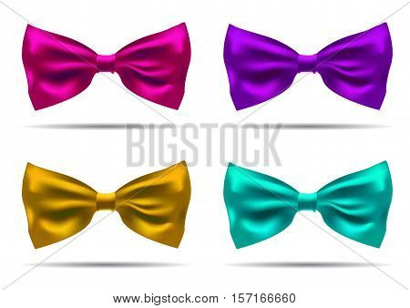 Vector set of silk bow ties on a background. EPS 10 illustration.