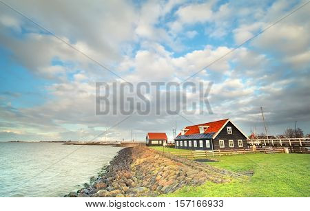 Ijsselmeer coast by Hindeloopen in Friesland Netherlands