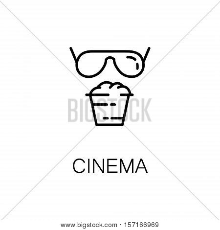 Cinema flat icon. Single high quality outline symbol of recreation for web design or mobile app. Thin line signs of cinema for design logo, visit card, etc. Outline pictogram of cinema