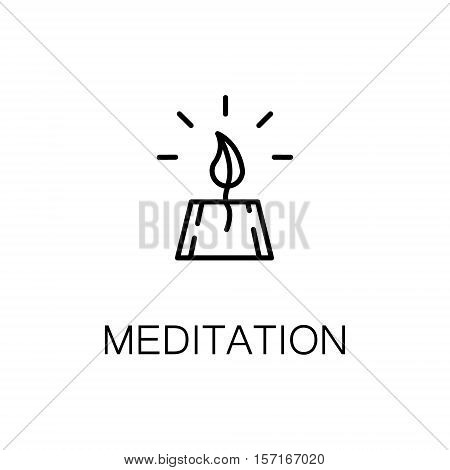Meditation flat icon. Single high quality outline symbol of recreation for web design or mobile app. Thin line signs of meditation for design logo, visit card, etc. Outline pictogram of meditation