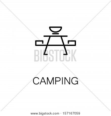 Camping flat icon. Single high quality outline symbol of recreation for web design or mobile app. Thin line signs of camping for design logo, visit card, etc. Outline pictogram of camping