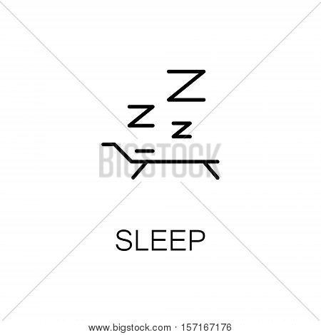 Sleep flat icon. Single high quality outline symbol of recreation for web design or mobile app. Thin line signs of bed for design logo, visit card, etc. Outline pictogram of relax