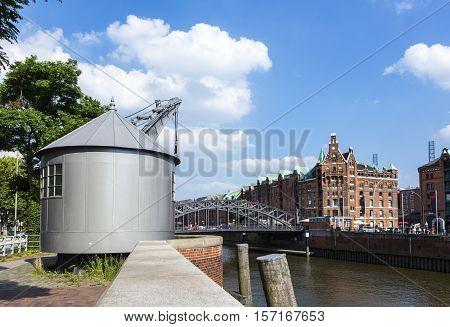 Old Crane In Speicherstadt, Hafencity Hamburg, Germany