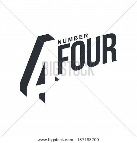 Black and white number four diagonal logo template, vector illustrations isolated on white background. Graphic logo with diagonal logo with number four