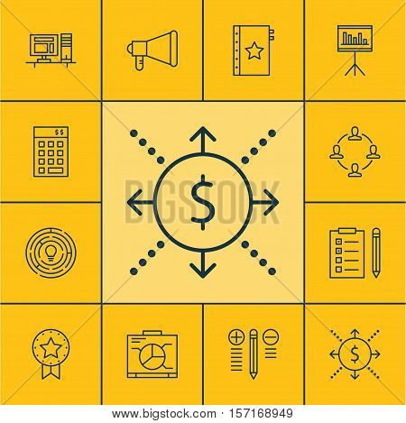 Set Of Project Management Icons On Innovation, Announcement And Decision Making Topics. Editable Vec