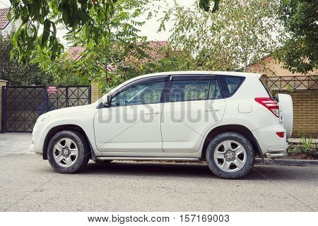 Sochi, Russia - October 11, 2016: Toyota RAV4 parked on the street of Sochi City. Sport utility vehicle (SUV) produced by Japanese automobile manufacturer Toyota.