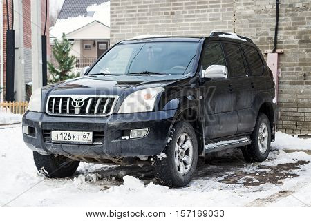 Smolensk, Russia - November 13, 2016: Toyota Land Cruiser parked in winter street.