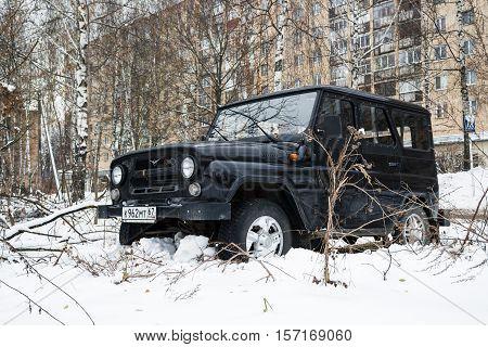 Smolensk, Russia - November 13, 2016: UAZ HUNTER legendary russian off-road auto parked in the streets of Smolensk.