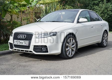 Sochi, Russia - October 11, 2016: Audi A4 parked on the suburbian road.