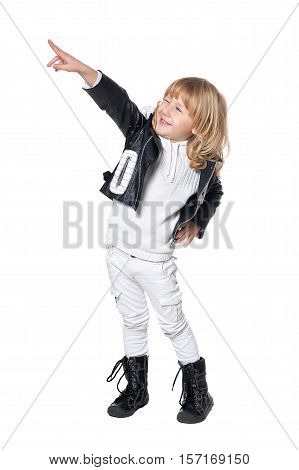 Lottle boy pointing with blond hair pointing isolated on white background