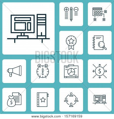 Set Of Project Management Icons On Collaboration, Schedule And Computer Topics. Editable Vector Illu