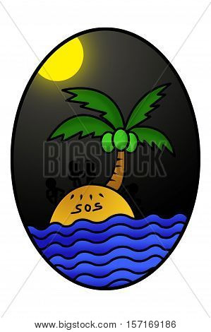 Silhouettes of men on island with SOS cartoon in ellipse illustration background