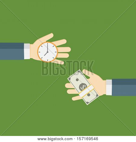 Time Is Money Illustration, People Hand exchanging time with money