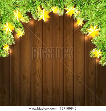 Christmas background with stras garland and fir-tree on wood background. Vector illustration.