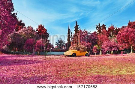 AIGALEO GREECE, APRIL 23 2016: infrared landscape of Aigaleo park Greece. Editorial use.
