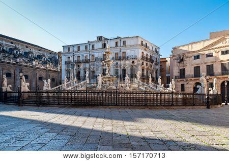 In the center of Palermo's loveliest square Piazza Pretoria stands this magnificent fountain Fontana Pretoria (1554) work of the Florentine sculptor Francesco Camilliani. Palermo Sicily Italy.