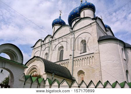 Suzdal Kremlin (XII century). Nativity Cathedral with blue domes. Gold ring of Russia. Orthodox architecture