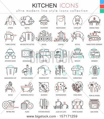 Vector Kitchen color flat line outline icons for apps and web design. Kitchen tools icons