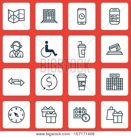 Set Of Traveling Icons On Accessibility, Locate And Calculation Topics. Editable Vector Illustration