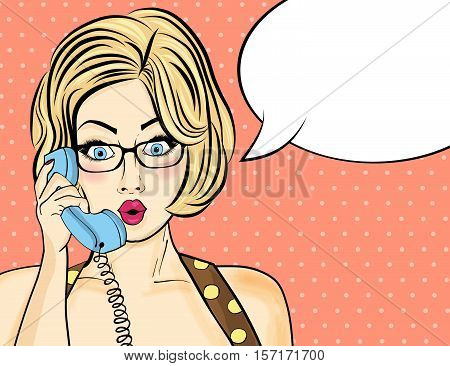 Surprised Pop Art  Woman Chatting On Retro Phone . Comic Woman With Speech Bubble. Pin Up Girl.